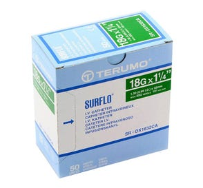 "SURFLO® IV Catheter, 18G x 1 1/4"", Green - 50/Box"