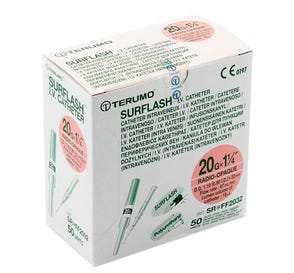 "SurFlash® Polyurethane IV Catheter, 20G x 1 1/4"", Pink - 50/Box"