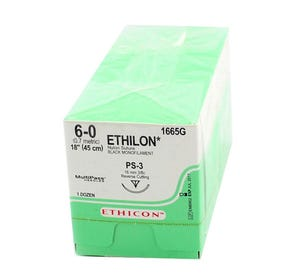 "ETHILON® Nylon Black Monofilament Non-Absorbable Suture, 6-0, PS-3, Precision Point-Reverse Cutting, 18"" - 12/Box"