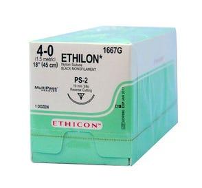"ETHILON® Nylon Black Monofilament Non-Absorbable Suture, 4-0, PS-2, Precision Point-Reverse Cutting, 18"" - 12/Box"