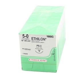 "ETHILON® Nylon Black Monofilament Non-Absorbable Suture, 5-0, PS-3, Precision Point-Reverse Cutting, 18"" - 12/Box"