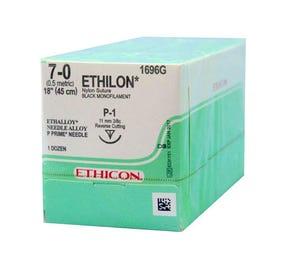 "ETHILON® Nylon Black Monofilament Non-Absorbable Suture, 7-0, P-1, Precision Point-Reverse Cutting, 18"" - 12/Box"