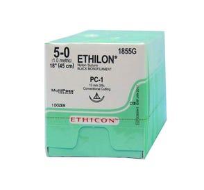 """ETHILON® Nylon Black Monofilament Non-Absorbable Suture, 5-0, PC-1, Precision Cosmetic-Conventional Cutting PRIME, 18"""" - 12/Box"""