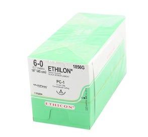 """ETHILON® Nylon Black Monofilament Non-Absorbable Suture, 6-0, PC-1, Precision Cosmetic-Conventional Cutting PRIME, 18"""" - 12/Box"""