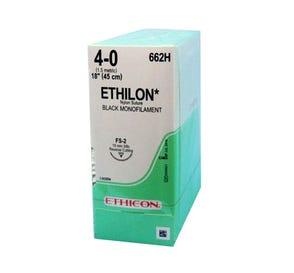 "ETHILON® Nylon Black Monofilament Non-Absorbable Suture, 4-0, FS-2, Reverse Cutting, 18"" - 12/Box"