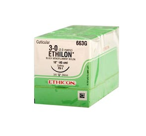 "ETHILON® Nylon Black Monofilament Non-Absorbable Suture, 3-0, FS-1, Reverse Cutting, 18"" - 12/Box"