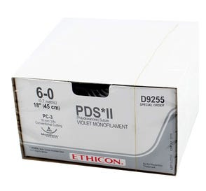 """PDS® II Violet Monofilament Absorbable Suture, 6-0, PC-3, Conventional Cutting, 18"""" - 12/Box"""