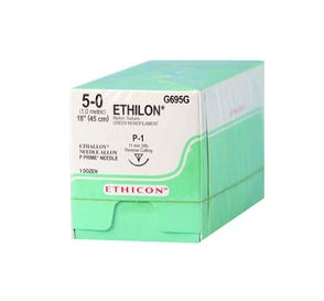 "ETHILON® Nylon Green Monofilament Non-Absorbable Suture, 5-0, P-1, Precision Point-Reverse Cutting, 18"" - 12/Box"