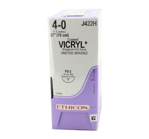 """VICRYL® Undyed Braided & Coated Absorbable Suture, 4-0, FS-2, Reverse Cutting, 27"""" - 36/Box"""