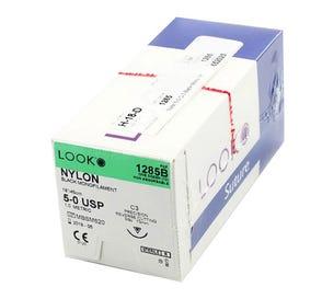 """Nylon Black Monofilament Non-Absorbable Suture, 5-0, C-3, Precision Reverse Cutting, 18"""" - 12/Box"""