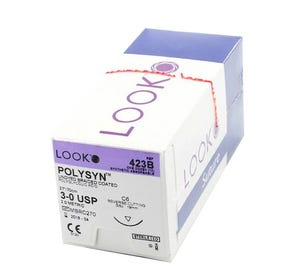 """POLYSYN™ Polyglycolic Acid Undyed Braided Coated Absorbable Suture, 3-0, C-6, Reverse Cutting, 27"""" - 12/Box"""