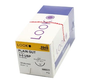 "Plain Gut Absorbable Suture, 3-0, C-31, Reverse Cutting, 18"" - 12/Box"