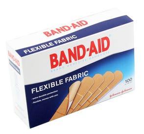 "BAND-AID® Brand Adhesive Bandages, Flexible Fabric, 3/4"" x 3"" - 100/Box"