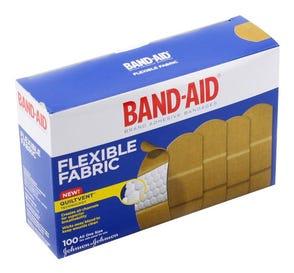 "BAND-AID® Brand Adhesive Bandages, Flexible Fabric, 1"" x 3"" - 100/Box"