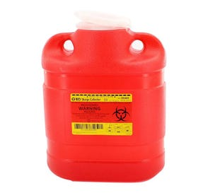 Sharps Collector, One-Piece, 6.9 Quart (Medium), Red w/ Regular Funnel Entry