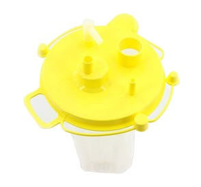 Quick-Fit™ Suction Canister Liner, 1500 cc w/ Attached Yellow Lid, Aerostat® Filter, Float Valve Shutoff and One Elbow