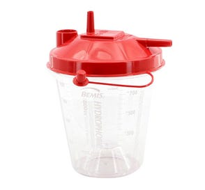 Hydrophobic Rigid Suction Canister (Red Lid), 800 cc w/ Built-In Critical Measure - 100/Case