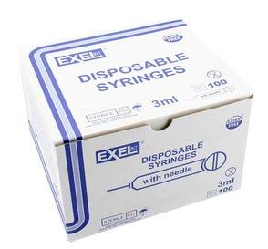 "3 cc Syringe w/20ga x 1 1/2"" Needle, Luer Lock Tip, Yellow Hub - 100/Box"
