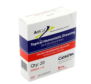 """ActCel® Topical Hemostatic Dressing, 2"""" x 2"""", Sterile - 20/Box"""