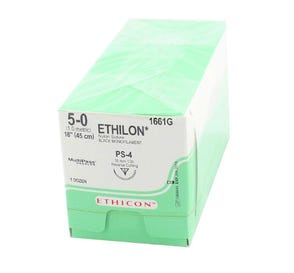 "ETHILON® Nylon Black Monofilament Non-Absorbable Suture, 5-0, PS-4, Precision Point-Reverse Cutting, 18"" - 12/Box"