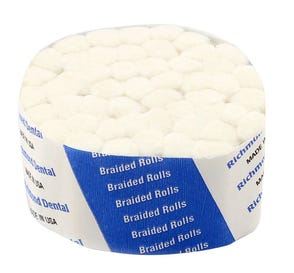 """Braided Cotton Rolls, 1 1/2"""" with 3/8"""" Diameter, Sterile, - 12/Box"""