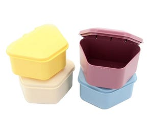 "Denture Box 3"" Deep 3 each Blue, Yellow, Beige and Mauve - 12/Box"