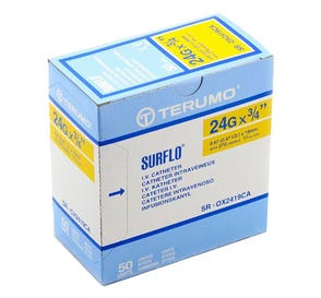 "SURFLO® IV Catheter, 24G x 3/4"", Yellow - 50/Box"