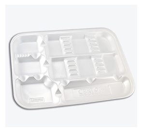 """ProTray™ Disposable Instrument Set-Up Tray, 9-1/2"""" x 13-1/4"""", w/Dividers, White - 200/Box"""