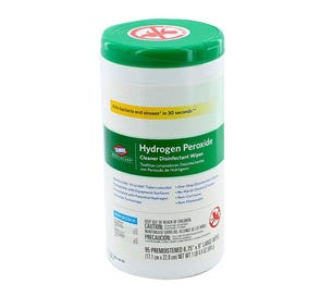 """Hydrogen Peroxide Cleaner Disinfectant Wipes, 6.75"""" x 9"""", 95/Canister - 95/Canister"""