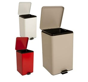 Step-On Metal Waste Can Square 32 qt Beige