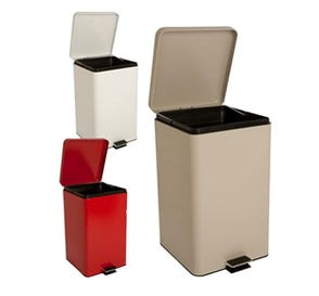 Step-On Metal Waste Can Square 20 qt White