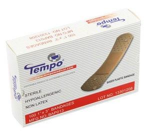 """Plastic Strip Bandage, 1"""" x 3"""", Non Latex, Sterile - 100/Box"""