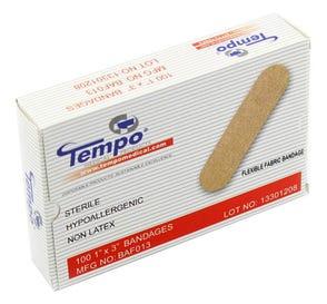 """Fabric Strip Bandage, 1"""" x 3"""", Non Latex, Sterile - 100/Box"""