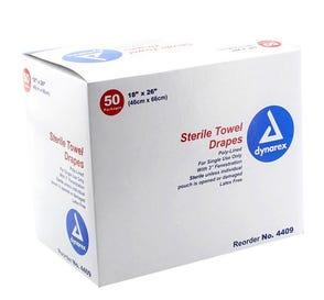 "Towel Drape Fenestrated 18"" x 26"" Sterile White - 50/Box"