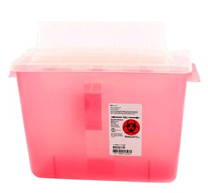SharpSafety™ Sharps Container 2 Gallon Transparent Red Always Open Lid - 10/Case