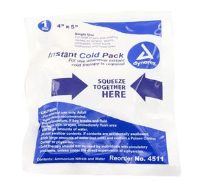 """Instant Cold Pack, Single Use, 4"""" x 5"""" - 24/Case"""