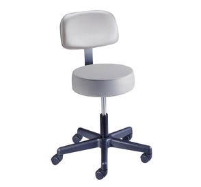 "Value Plus Exam Stool, Spin Lift with Backrest, 17"" - 21.25"", Azure Blue"