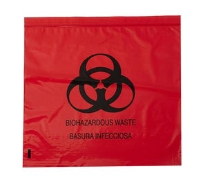 "Biohazard Red Bag 24"" x 26"" 10 Gallon 1.5 mil - 200/Case"