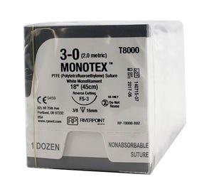 "MONOTEX® PTFE (Polytetrafluoroethylene) White Monofilament Non-Absorbable Suture, 3-0, FS-3, Reverse Cutting, 18"" - 12/Box"