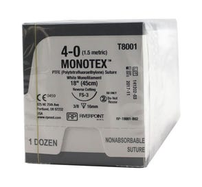 "MONOTEX® PTFE (Polytetrafluoroethylene) White Monofilament Non-Absorbable Suture, 4-0, FS-3, Reverse Cutting, 18"" - 12/Box"
