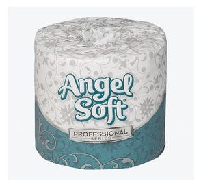 """Angel Soft® Professional Series™ 2-Ply Premium Embossed Bathroom Tissue, White, 4"""" x 4.05"""", 450 Sheets/Roll, - 80 Rolls/Case"""