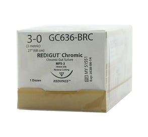 "Reli® REDIGUT® Chromic Gut Absorbable Suture, 3-0, MFS-2 (FS-2 or C6), Reverse Cutting, 27"" - 12/Box"