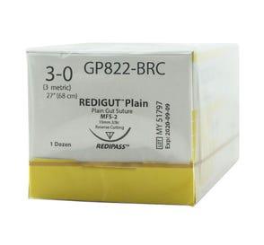 "Reli® REDIGUT® Plain Gut Absorbable Suture, 3-0, MFS-2 (FS-2 or C6), Reverse Cutting, 27"" - 12/Box"