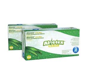 Aloetex™ Latex Examination Gloves with Aloe, Small, Powder-Free, Green - 100/Box