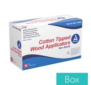 "Cotton Tipped Wood Applicators, Non-Sterile, 6"" - 10bx (of 1000ea)"
