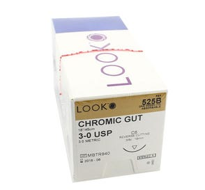 """Chromic Gut Absorbable Suture, 3-0, C-6, Reverse Cutting, 18"""" - 12/Box"""