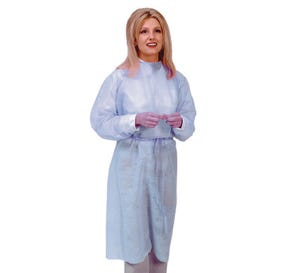 Isolation Gown with Elastic Cuff Latex-Free Blue - 50/Case