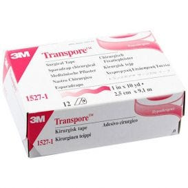 "Transpore™ Surgical Tape, Transparent Plastic, 1"" x 10 yds - 12/Box"