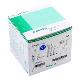 """Introcan® Safety IV Catheter 22G x 1"""" Straight Polyurethane - 50/Box"""