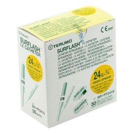 "SurFlash® Polyurethane IV Catheter, 24G x 3/4"", Yellow - 50/Box"